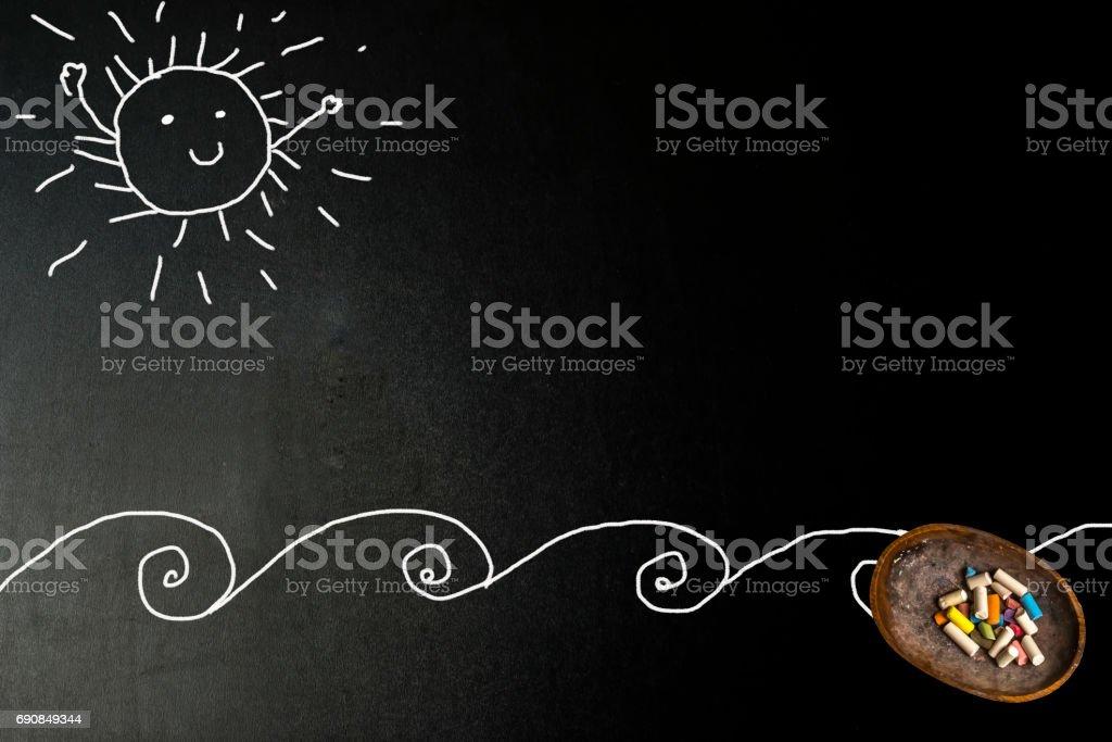 Happy sunny sun and beach card stock photo