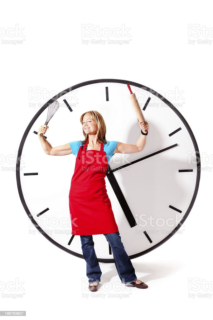 Happy Super Mom with House Work Beating the Clock stock photo