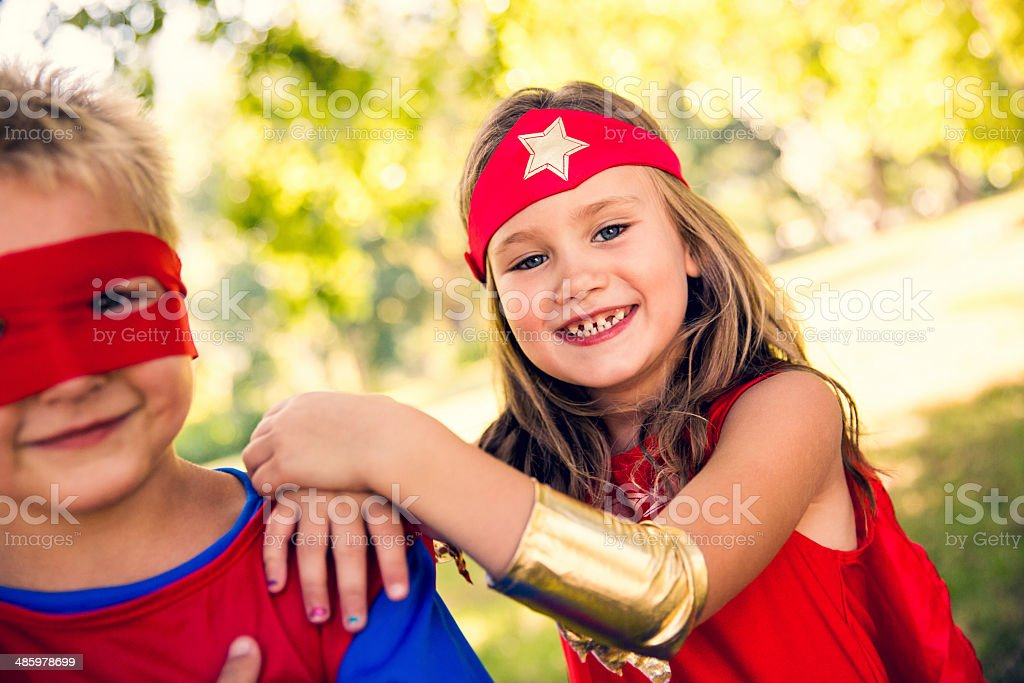 Happy superhero children stock photo