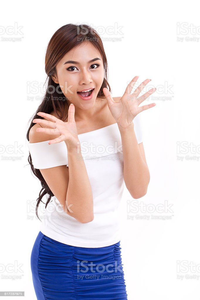 happy, surprised woman over white isolated background stock photo