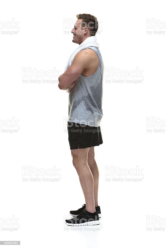 Happy sweating man stock photo