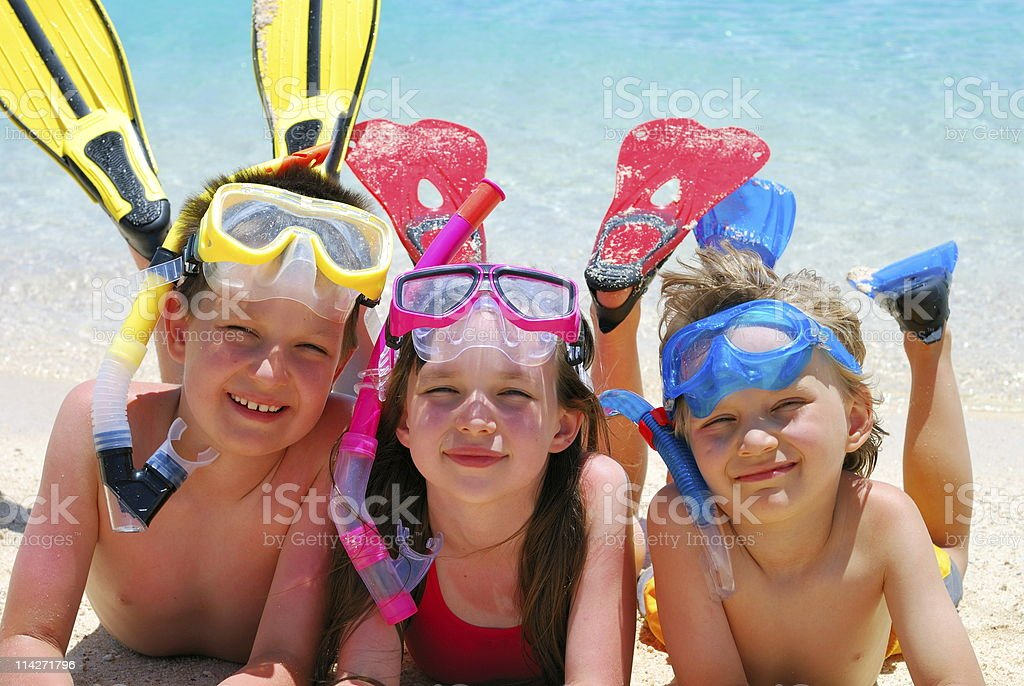 happy swimmers/snorkelers royalty-free stock photo