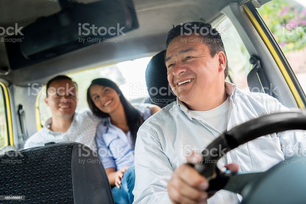 Happy taxi driver royalty-free stock photo