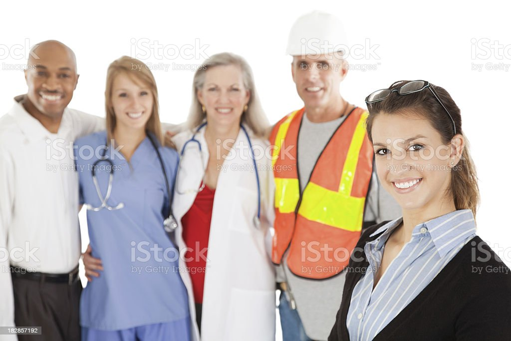 Happy Teacher With Group of Working Class Adults royalty-free stock photo
