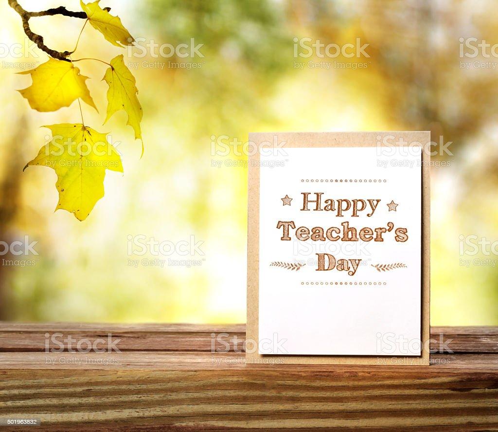 Happy Teachers Day greeting card stock photo