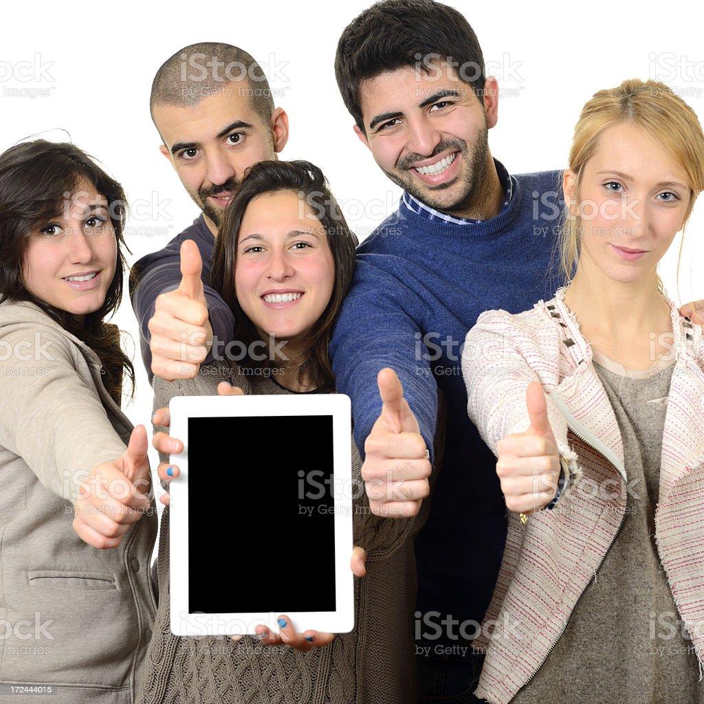Happy Teamwork Showing Digital Tablet royalty-free stock photo