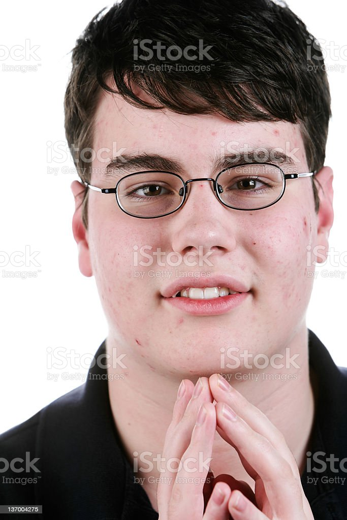 XXL happy teen boy stock photo