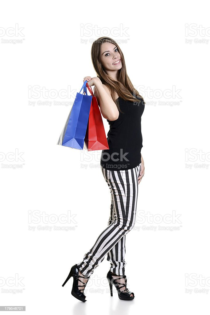 happy teen girl with shopping bags royalty-free stock photo