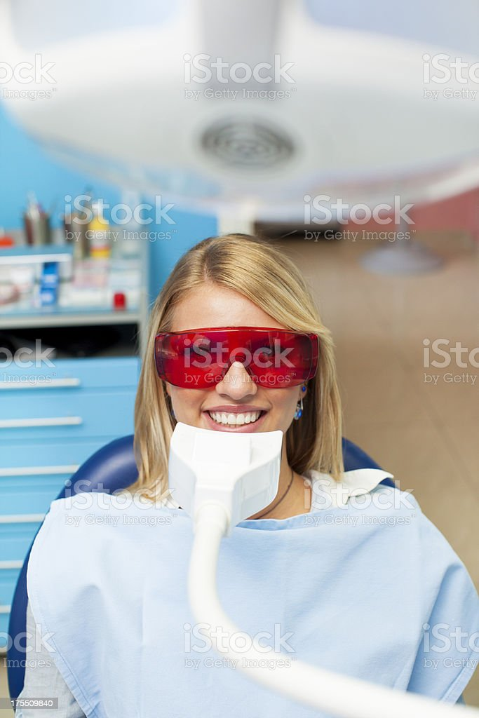 Happy Teenage Girl at dentist office. royalty-free stock photo