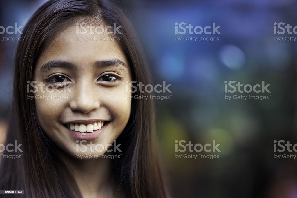 Happy teenage girl stock photo