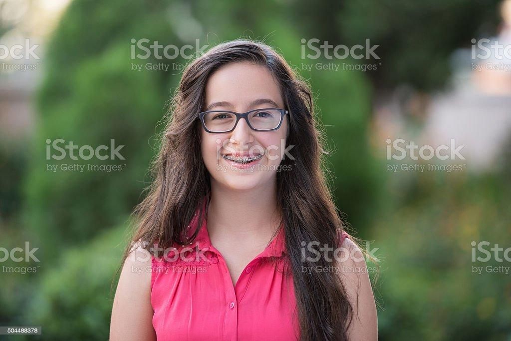 Happy teenage girl stock photo