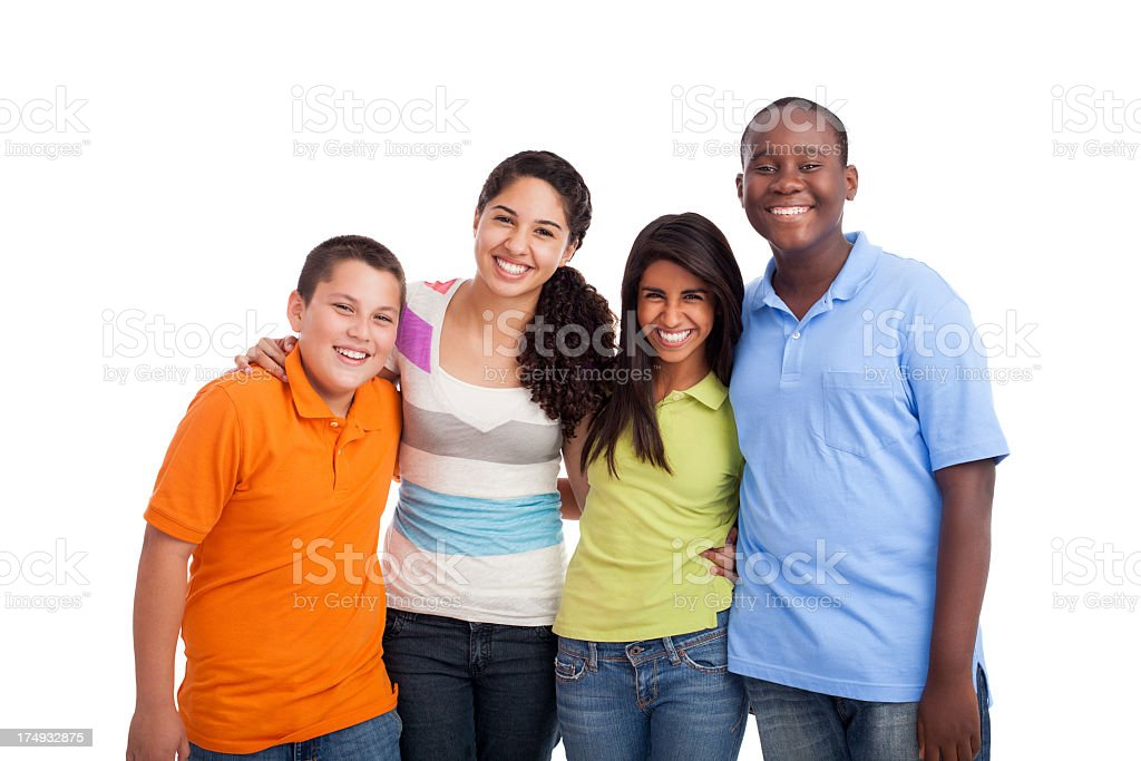 Happy teenage girl with friends royalty-free stock photo