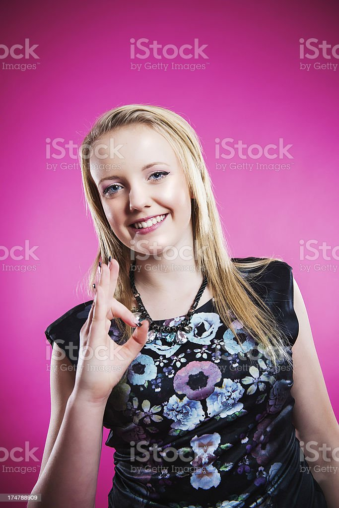Happy teenager doing ok sign royalty-free stock photo