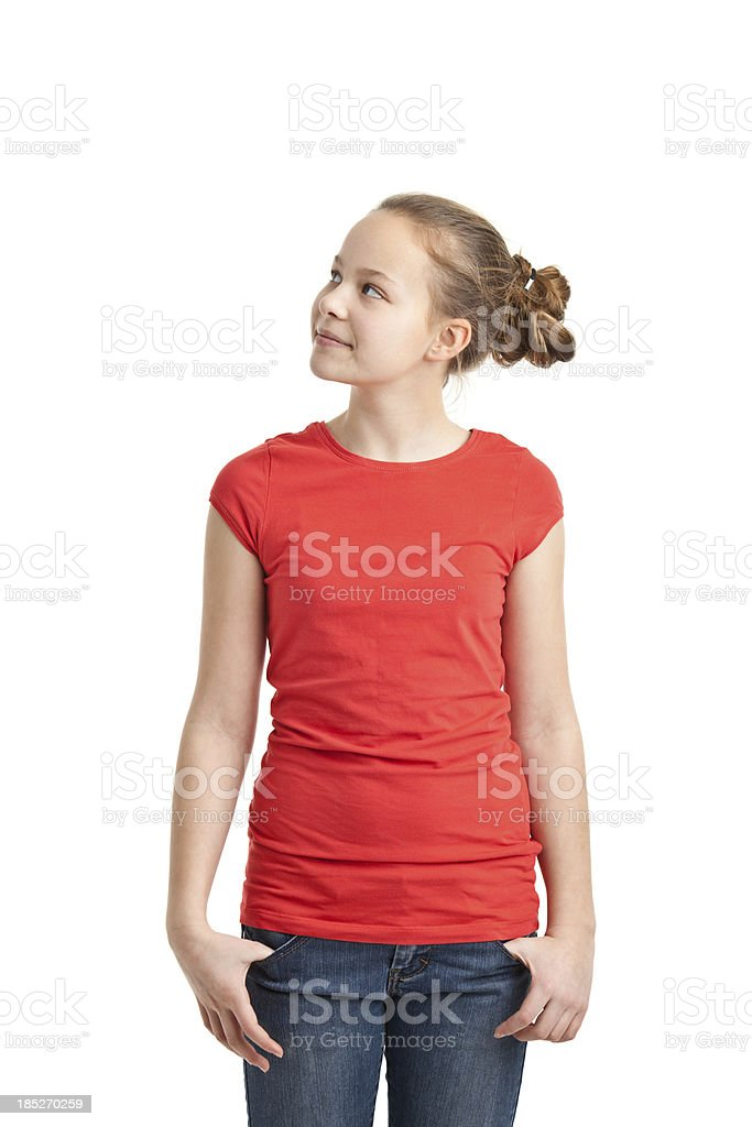 happy teenager girl in red tshirt royalty-free stock photo