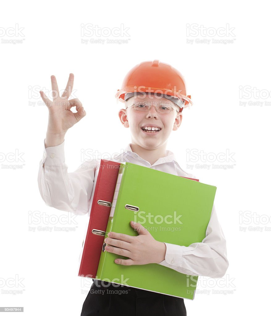 Happy teenager in helmet and folders show OK sign royalty-free stock photo