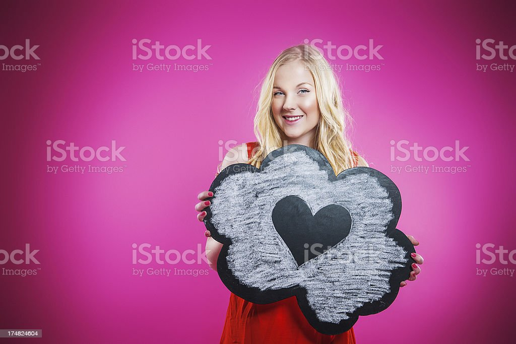 Happy teenager in love stock photo