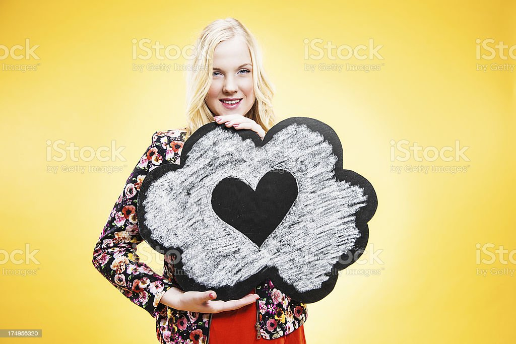 Happy teenager in love royalty-free stock photo