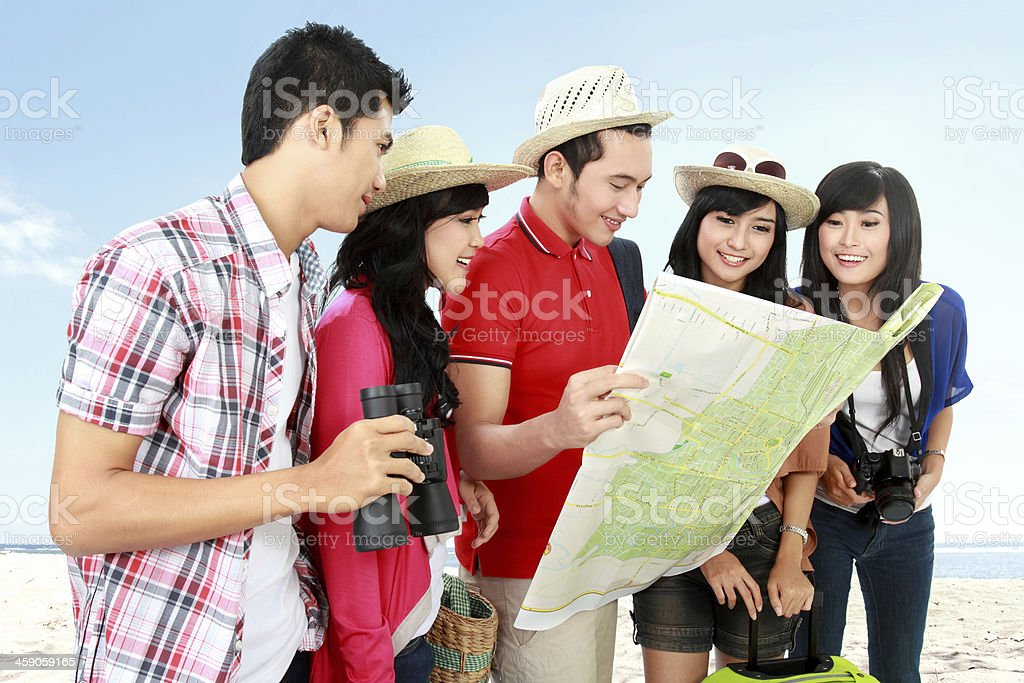 Happy teenager tourists royalty-free stock photo