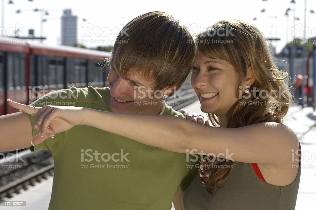 Happy teenagers in love royalty-free stock photo