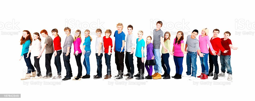 Happy teenagers with arm outstretched royalty-free stock photo