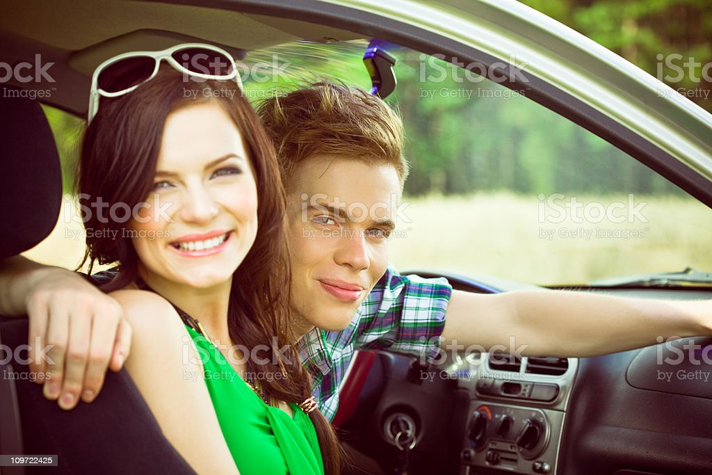 Happy teens in a car royalty-free stock photo