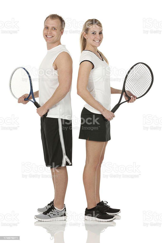 Happy tennis duos stock photo