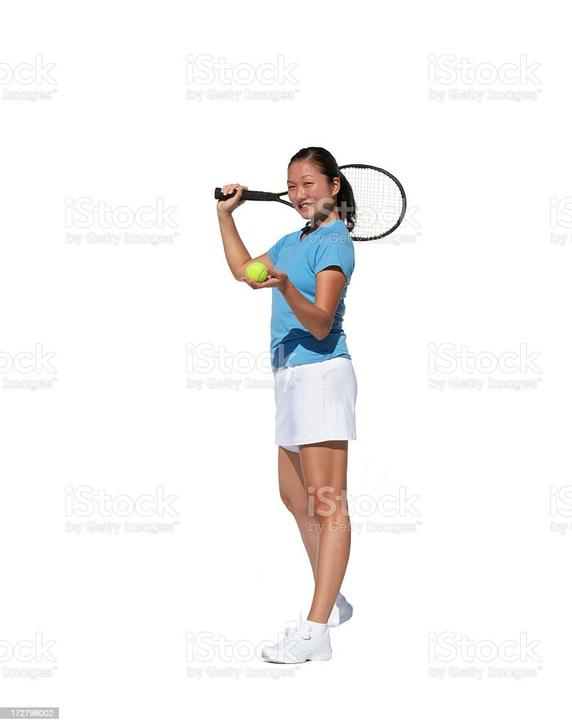 happy tennis player isolated on white stock photo