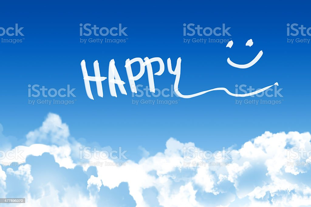 Happy text on blue sky background stock photo