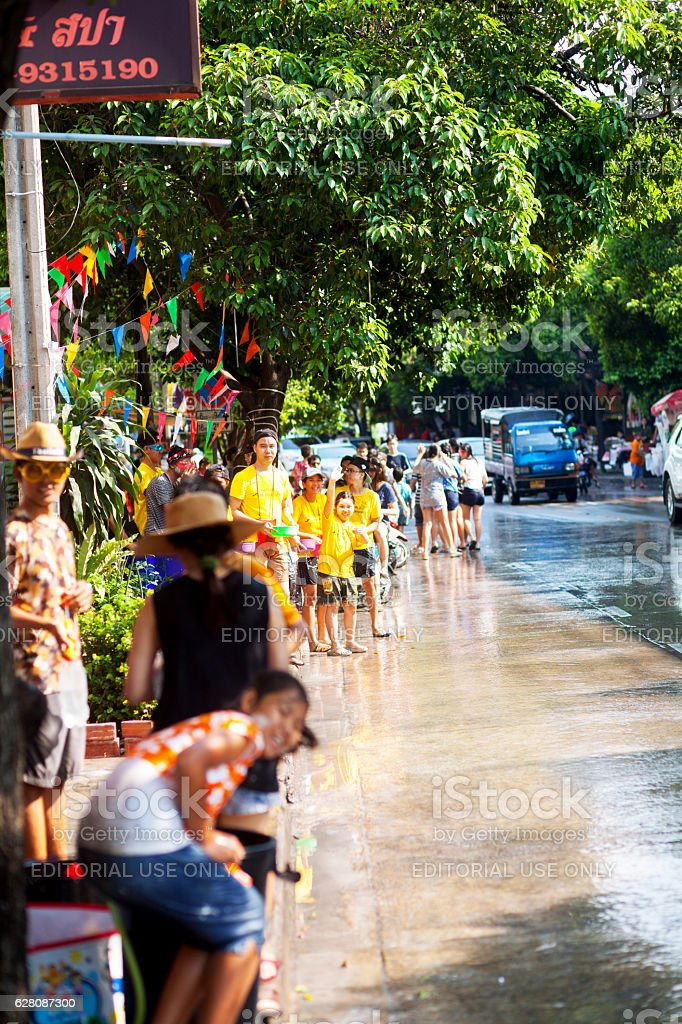 Happy thai at Songkran day stock photo