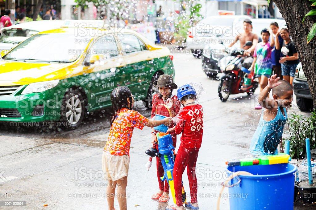 Happy thai kids with big water gun stock photo