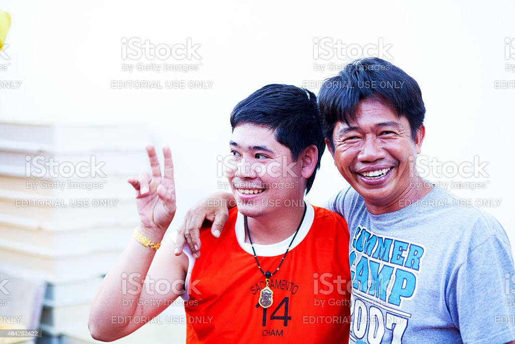 Happy thai men from countryside stock photo