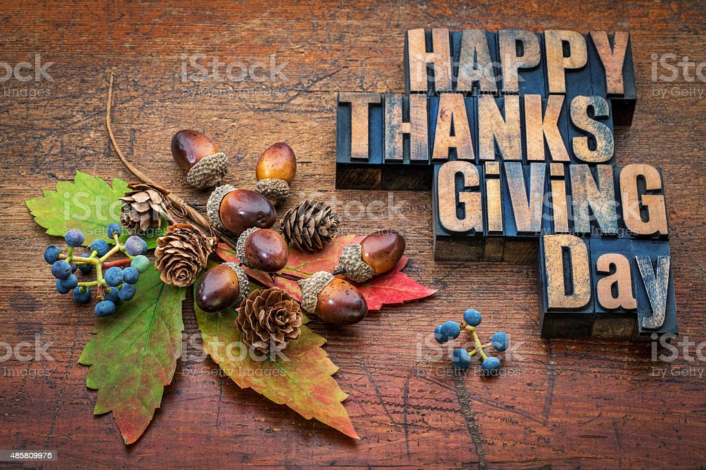 Happy Thanksgiving Day in wood type stock photo