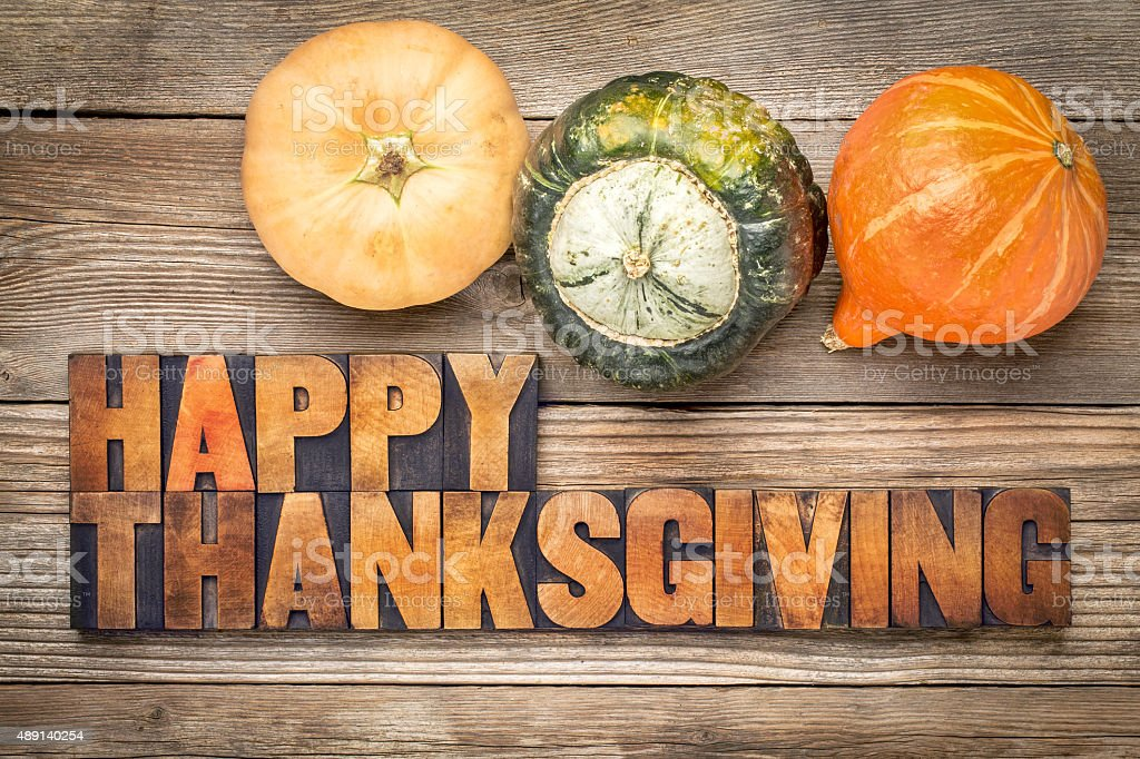 Happy Thanksgiving greeting card stock photo