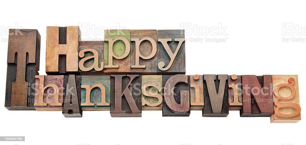 Happy Thanksgiving in letterpress type royalty-free stock photo