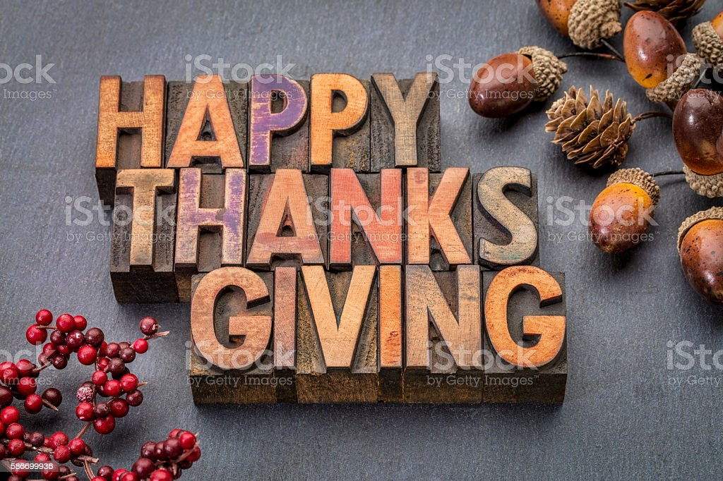 Happy Thanksgiving in wood type stock photo