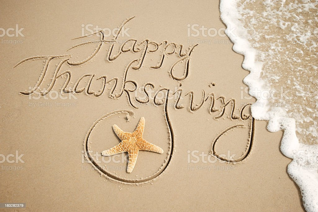 Happy Thanksgiving Message Handwritten Outdoors with White Wave stock photo