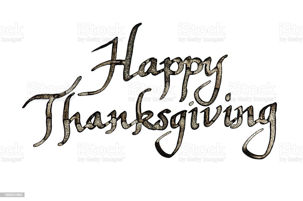 Happy Thanksgiving Message in Calligraphy on White royalty-free stock photo