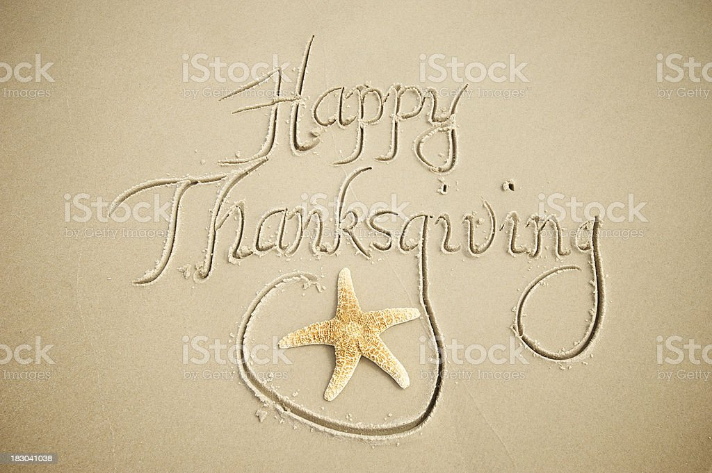 Happy Thanksgiving Message w Calligraphy Sand royalty-free stock photo