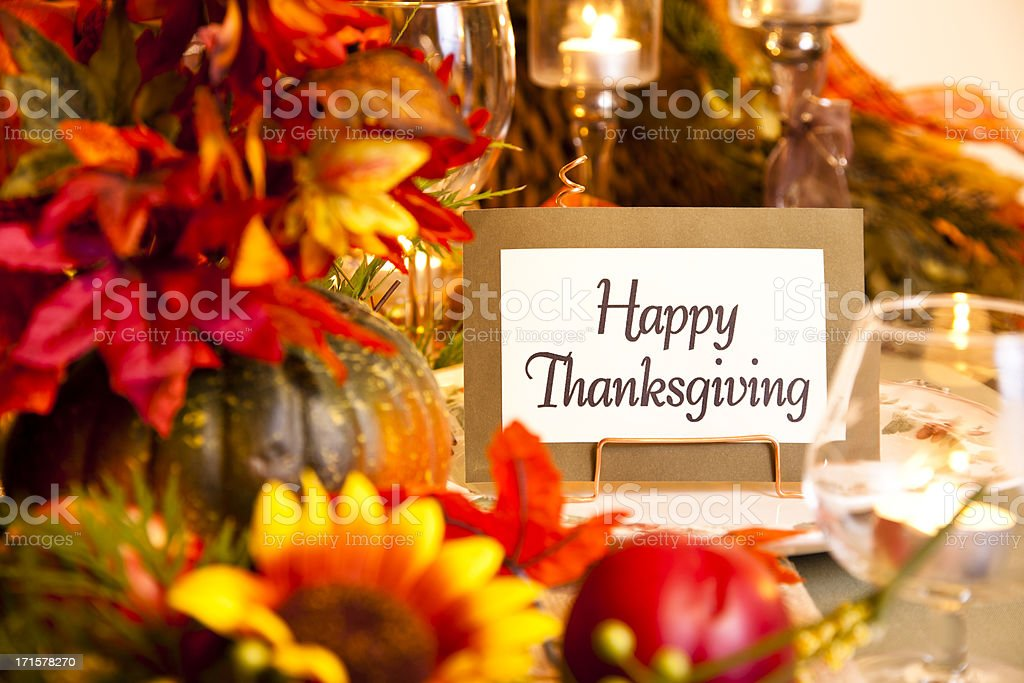 Happy Thanksgiving place setting. Autumn flower centerpiece. Table. stock photo