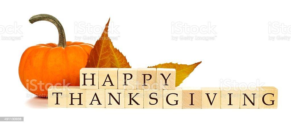 Happy Thanksgiving wooden blocks autumn decor over white stock photo