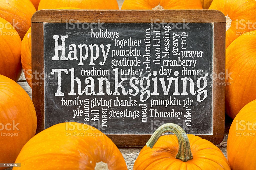 Happy Thanksgiving word cloud stock photo