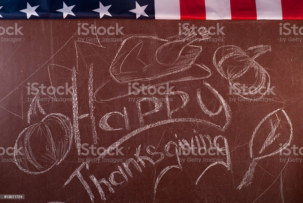 Happy Thanksgiving, written in white chalk on a blackboard, stock photo