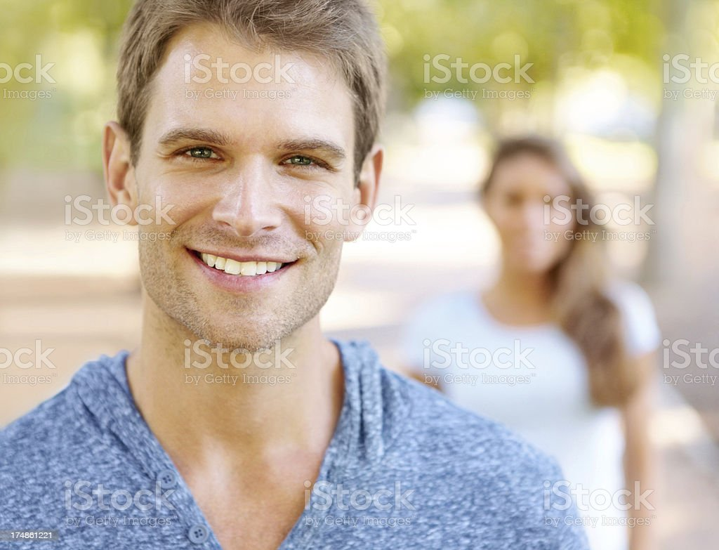 Happy that she lets him take the lead royalty-free stock photo