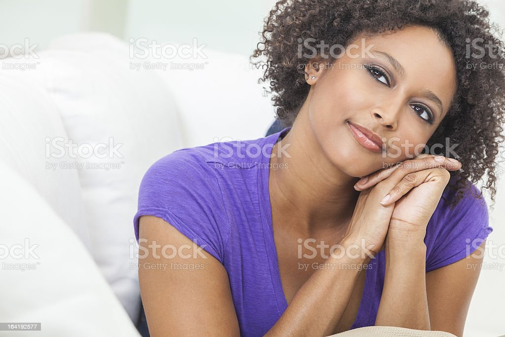 Happy Thoughtful Mixed Race African American Girl royalty-free stock photo