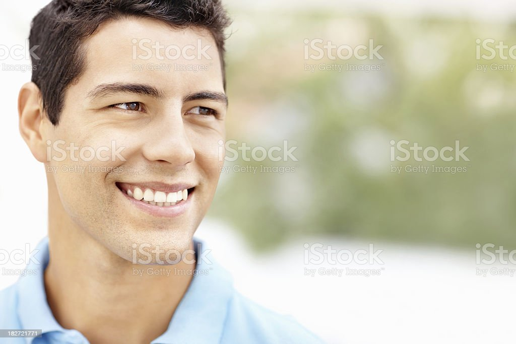Happy thoughts - Man looking away at copy space royalty-free stock photo