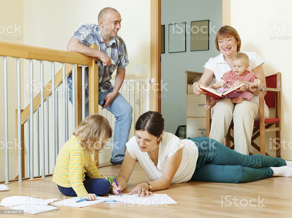 happy three generations family royalty-free stock photo