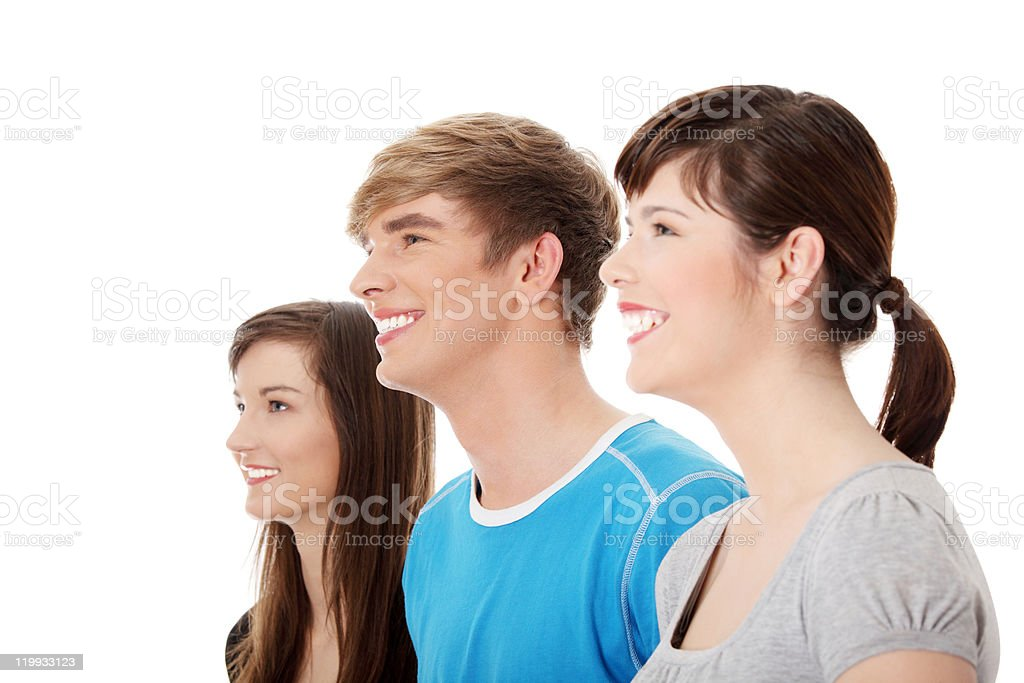 Happy three young friends stock photo