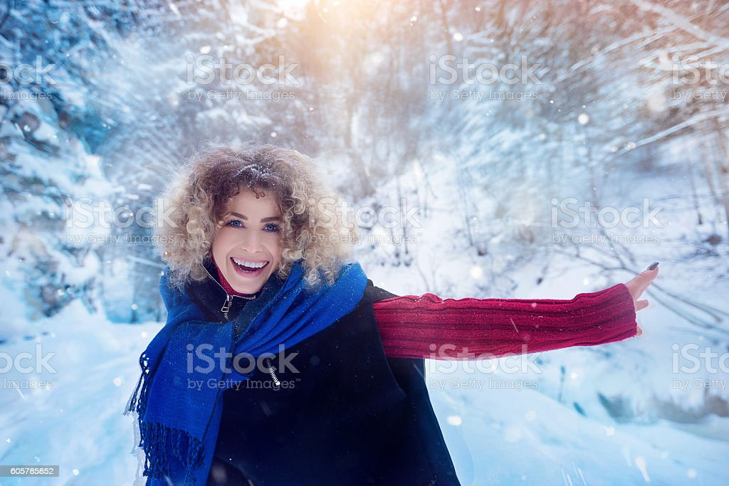 happy time in winter day stock photo