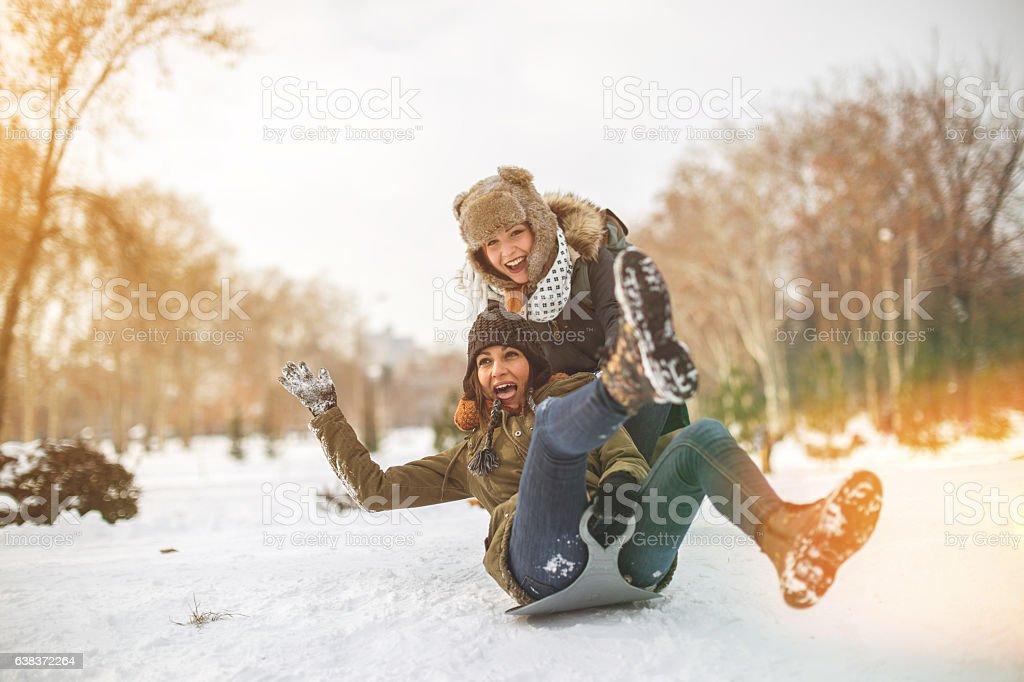 Happy times on snow stock photo