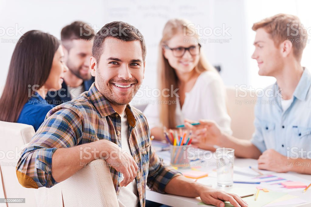 Happy to be a part of creative team. stock photo
